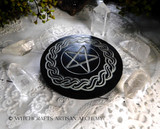 Black Pentacle Celtic Knot Incense Plate Burner
