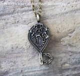 TROLL KEY Antiqued Brass Amulet Pendant Necklace
