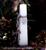 "VÖLVA Pentagram of Brisingamen ""Old European Witchcraft"" Tapered Square White Pillar Candle with Jewelry Chain Included"
