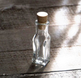 Collectible Rare Squared Bottom Clear Glass Vial w/ Cork
