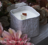 NORFOLK Iceland Spar Coco Apricot Crème Luxury Wax White Ceramic Cube Container Candle