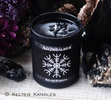 AEGISHJALMUR Helm Of Awe Viking Rune Shield Coco Apricot Crème Luxury Wax Matte Black Glass Container Candle