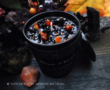 DARK HARVEST  Samhain Sabbat Coco Apricot Crème Luxury Wax Matte Black Glass Container Candle