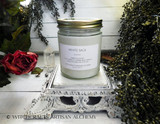 "WHITE SAGE (Salvia apiana) ""Simply Elegant"" Coco Apricot Crème Luxury Wax Straight Side Glass Jar Candle with Brushed Gold Tone Metal Lid"