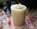 Soft Ivory Beeswax Hand Poured Pillar Candle with Hand Rolled Look