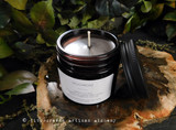 "MUGWORT Artemisia Vulgaris ""Simply Elegant"" Coco Apricot Crème Luxury Wax Dark Amber Glass Jar Candle with Matte Black Metal Lid"