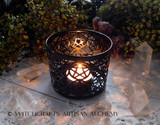 Black Lace Cut Pentacle Candle Holder