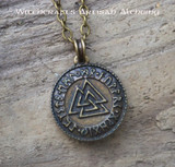 WOTANSKNOTEN RUNIC VALKNUT Antiqued Brass Double Faced Amulet Pendant Necklace
