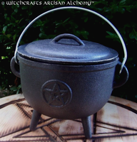 Large Cast Iron Wide Mouth Pentacle Cauldron w/ Lid