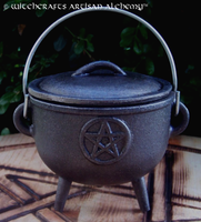 Medium Cast Iron Wide Mouth Pentacle Cauldron w/ Lid