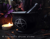 WITCH'S PENTACLE Large Black Stone Mortar & Pestle