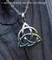 Celtic Triquetra Eternity Knot Silver Pendant Necklace