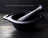 BLACK CAULDRON Cast Iron Mortar & Pestle