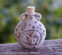 CAT SPIRIT Fired Clay Pendant Potion Bottle