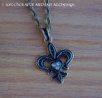 FLEUR DE LIS Antiqued Brass Amulet Pendant Necklace
