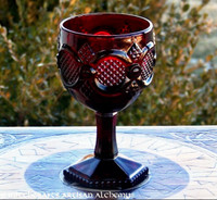 Large RUBY RED Glass Goblet Chalice, Vintage Avon 1876 Cape Cod Collection