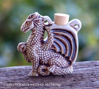 DRAGON SPIRIT Fired Clay Pendant Potion Bottle