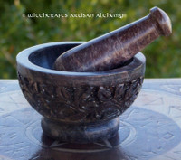 FLOWER GARDEN Carved Soapstone Mortar & Pestle