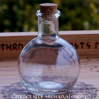 Clear Long Neck Round Glass Corked 6 Oz. Bottle