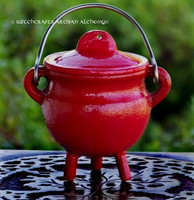 SHAMAN Red Cast Iron Cauldron w/ Lid