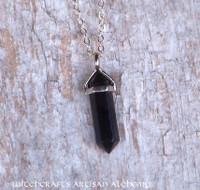 HEXEN SCHILD Black Obsidian Witch's Shield Crystal Gemstone Double Point Pendant Necklace