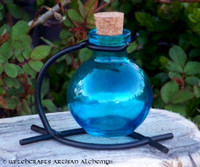 Avalon Blue Round Glass Corked Potion Bottle w/ Stand