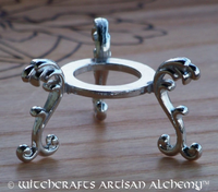 Medieval Gothic Silver Tone Crystal Ball Stand