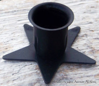 Pentagram Black Taper Candle Holder