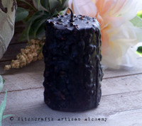 "WITCH ""Old European Witchcraft"" Grungy Black Primitive Pillar Candle"