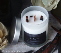"""VALKYRIE """"Crystal Visions"""" Luxury Coco Apricot Crème Wax Frosted Glass Container Candle"""