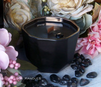 ONYX Gemstone Embedded Coco Apricot Crème Luxury Wax Ceramic Geode Bowl Candle