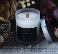 """HERKIMER DIAMOND """"Crystal Visions"""" Luxury Coco Apricot Crème Wax Frosted Glass Container Candle"""