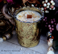 "URSULA 24K Gold & Herkimer Diamond ""Heirloom Heritage"" Coco Apricot Crème Luxury Wax Ornate Mercury Glass Container Candle"