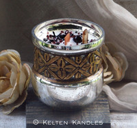 "SASSENACH ""Heirloom Heritage"" Coco Apricot Crème Luxury Wax Mercury Glass Container Candle"