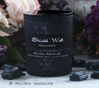 "SHIELD WALL ""Witchwerks"" Coco Apricot Crème Luxury Wax Matte Black Glass Container Candle"