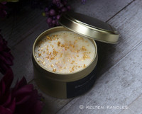 "ALCHEMIST'S GOLD 24K Gold Coco Apricot Crème Luxury Wax ""Artisan Alchemist"" Golden Alloy Tin Container Candle"
