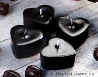WITCH'S HEART Black Rose Coco Apricot Crème Luxury Wax Heart Shaped Artisan Tealight Candles