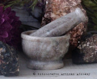 EARTHWORKS Marble Stone Beige Brown Mortar & Pestle