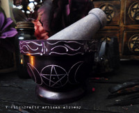 SPIRIT Purple Triple Moon Pentagram Soapstone Mortar & Pestle