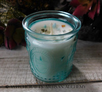 BLESSED BE Coco Apricot Crème Luxury Wax Embossed Glass Container Candle