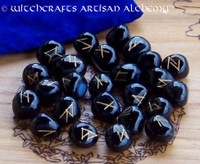 Black Onyx Elder Futhark Rune Set