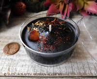 DARK HARVEST Samhain Sabbat Coco Apricot Crème Wax Artisan Jumbo Tealight Candle w/ Protective Cover