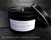 BLACK CAULDRON BREW Signature Scent ParaCoco Wax Candle in 8 oz. Matte Black Tin with Lid
