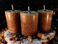 FRANKINCENSE & MYRRH Golden Honey Brown Pillar Votive Candles