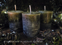 DARK FOREST Old European Rustic Mossy Green Pillar Votive Candles