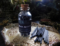 Witch's Black Wooden Matches in Glass Vial with Striker Strip