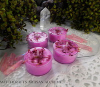 """FAIRY FIRE """"Simply Elegant"""" Coco Apricot Crème Wax Magenta Pink Artisan Tealight Candles"""