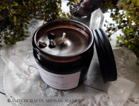 "COFFEE COVEN ""Simply Elegant"" Coco Apricot Crème Luxury Wax Dark Amber Glass Jar Candle with Matte Black Metal Lid"