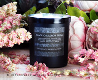 BLACK CAULDRON BREW Signature Scent Coco Crème Paraffin Wax Candle in Matte Black Glass Jar w/ Black Metal Lid