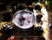 WITCH'S BLACKBERRY BREW Coco Apricot Crème Soy Wax Blend Purple Jumbo Artisan Tealight Candle w/ Protective Cover